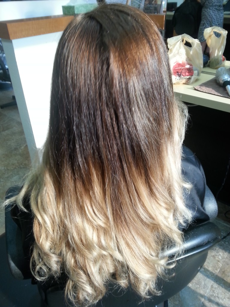 Golden brown to beigy blonde ombre