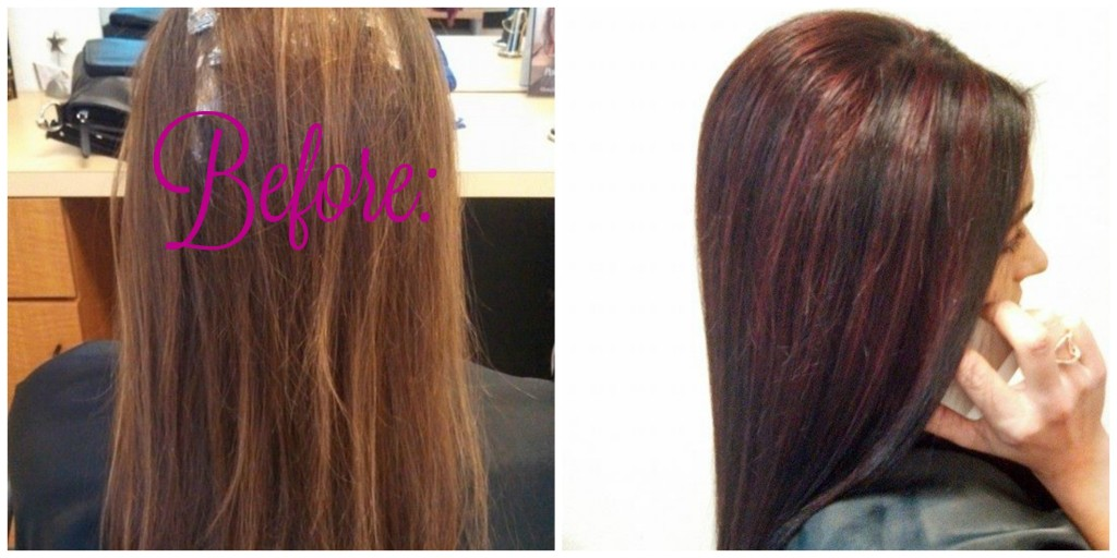 Dark Brown w Red Violet Highlights B&A